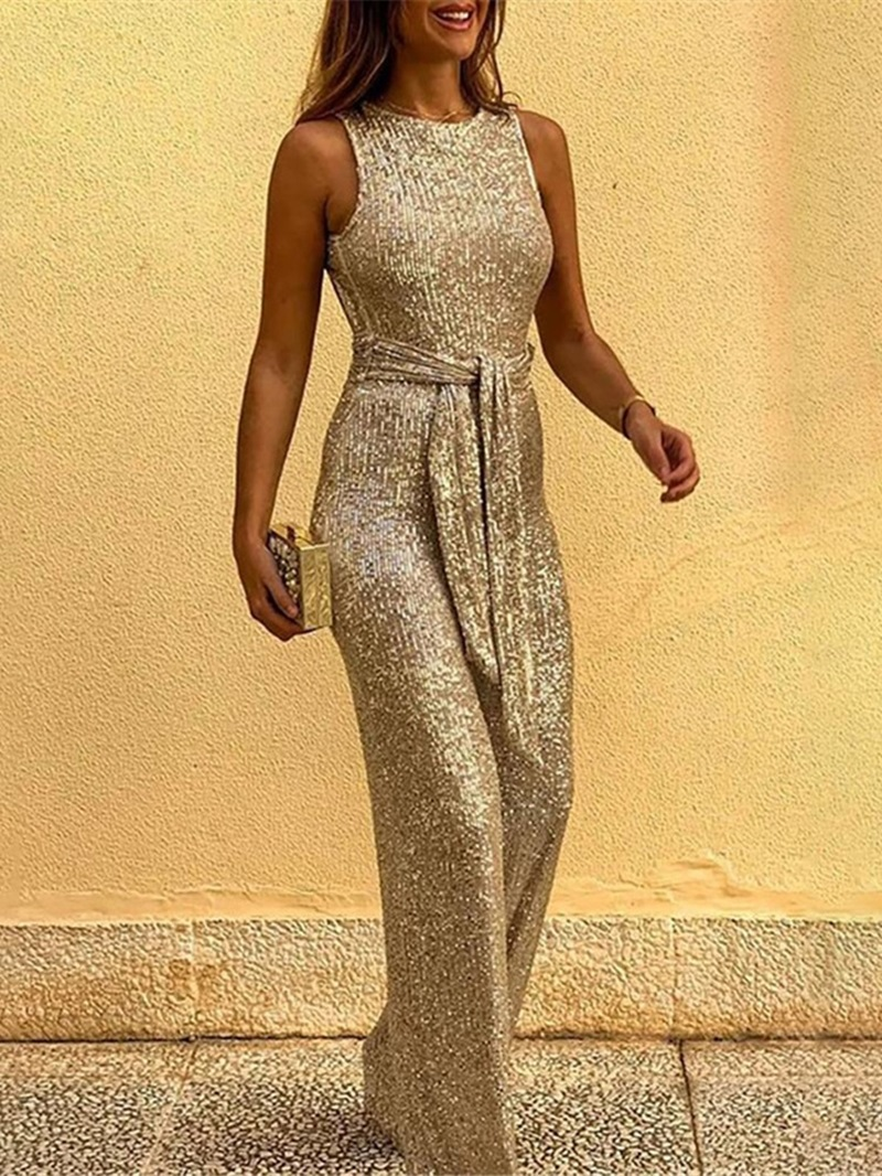 Ericdress Plain Casual Backless Slim Straight Jumpsuit