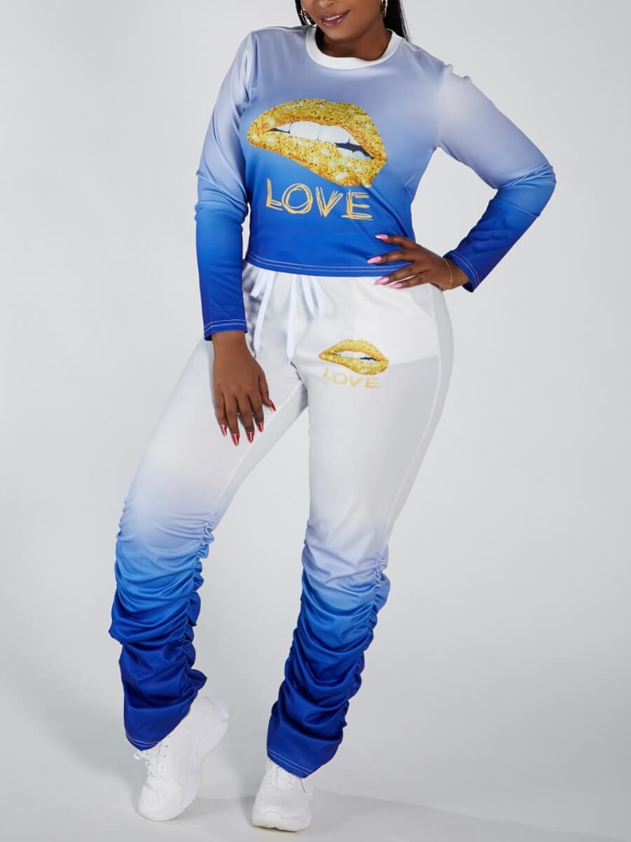 LW Lovely Sportswear O Neck Lip Print Blue Plus Size Two-piece Pants Set