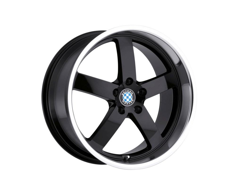 Beyern Rapp Wheel 22x9 5x120 15mm Gloss Black w/ Mirror Cut Lip