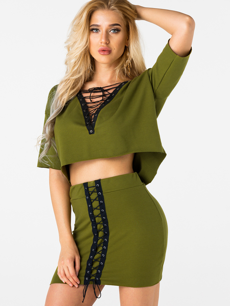 Yoins Army Green Lace-up Sexy 2- piece Skirt Suits