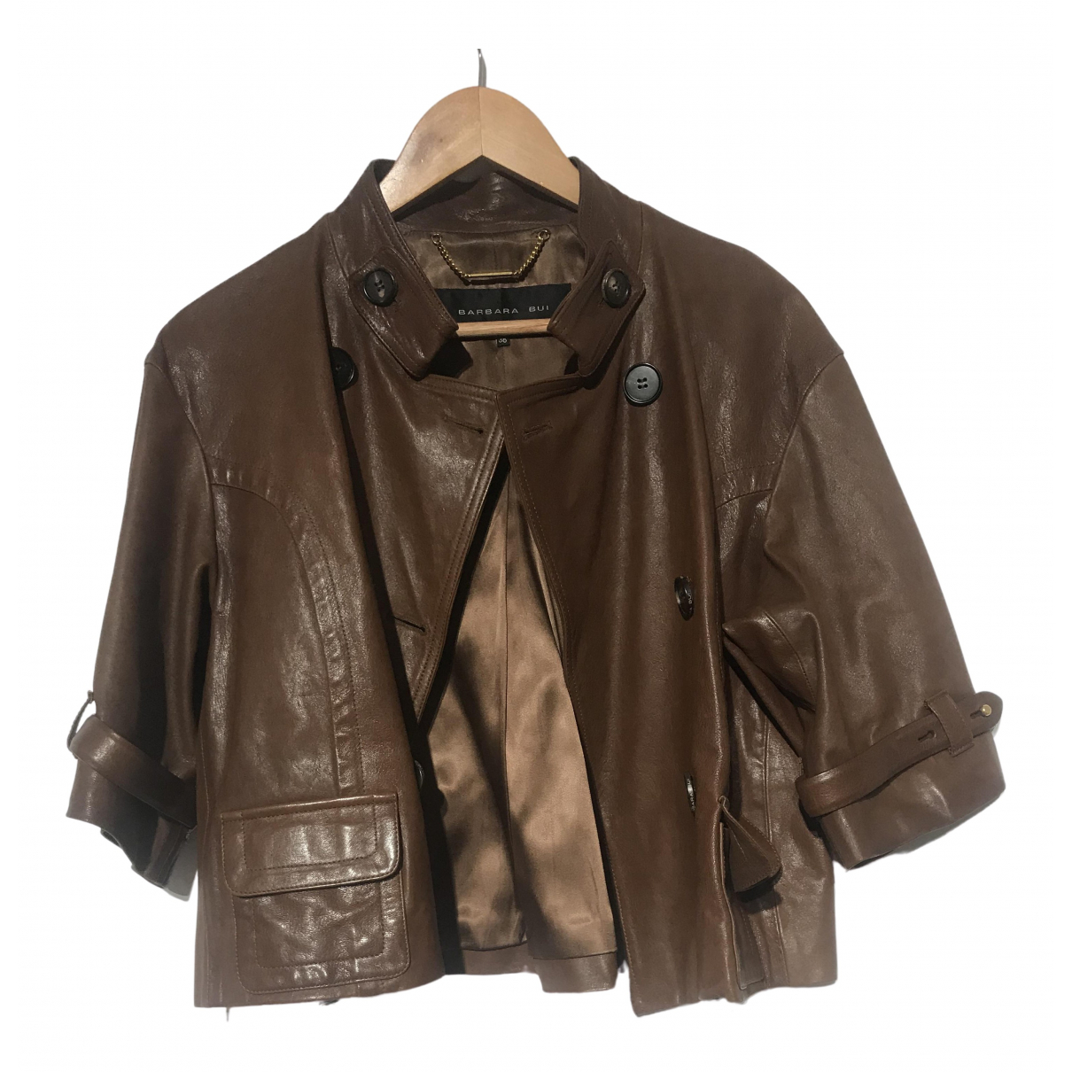 Barbara Bui \N Brown Leather Leather jacket for Women 38 IT