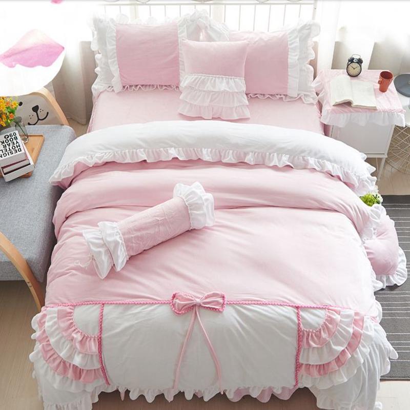 Super Soft Princess Style Lace Trim 4-Piece Velvet Duvet Cover Sets