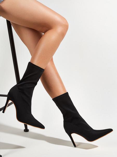 """Milanoo Botines de mujer de tela elastica con hebilla negra, punta puntiaguda, botas de 3.9 """""""