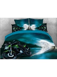 Vivilinen 3D Speeding Green Sports Motorcycle Printed 4-Piece Bedding Sets/Duvet Covers