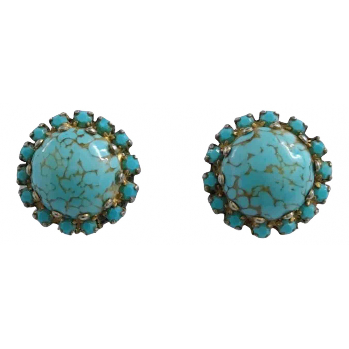 Non Signé / Unsigned Turquoises Turquoise Ceramic Earrings for Women N