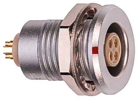 Lemo Circular Connector, 4 contacts Panel Mount M12 Socket, Solder IP68