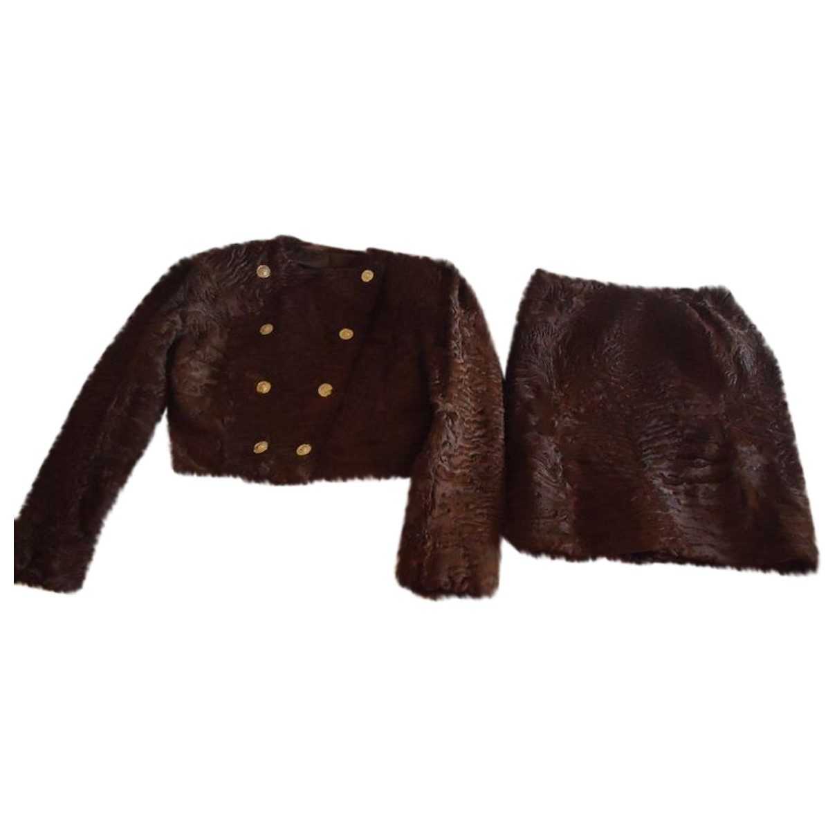 Non Signé / Unsigned \N Brown Astrakhan jacket for Women M International