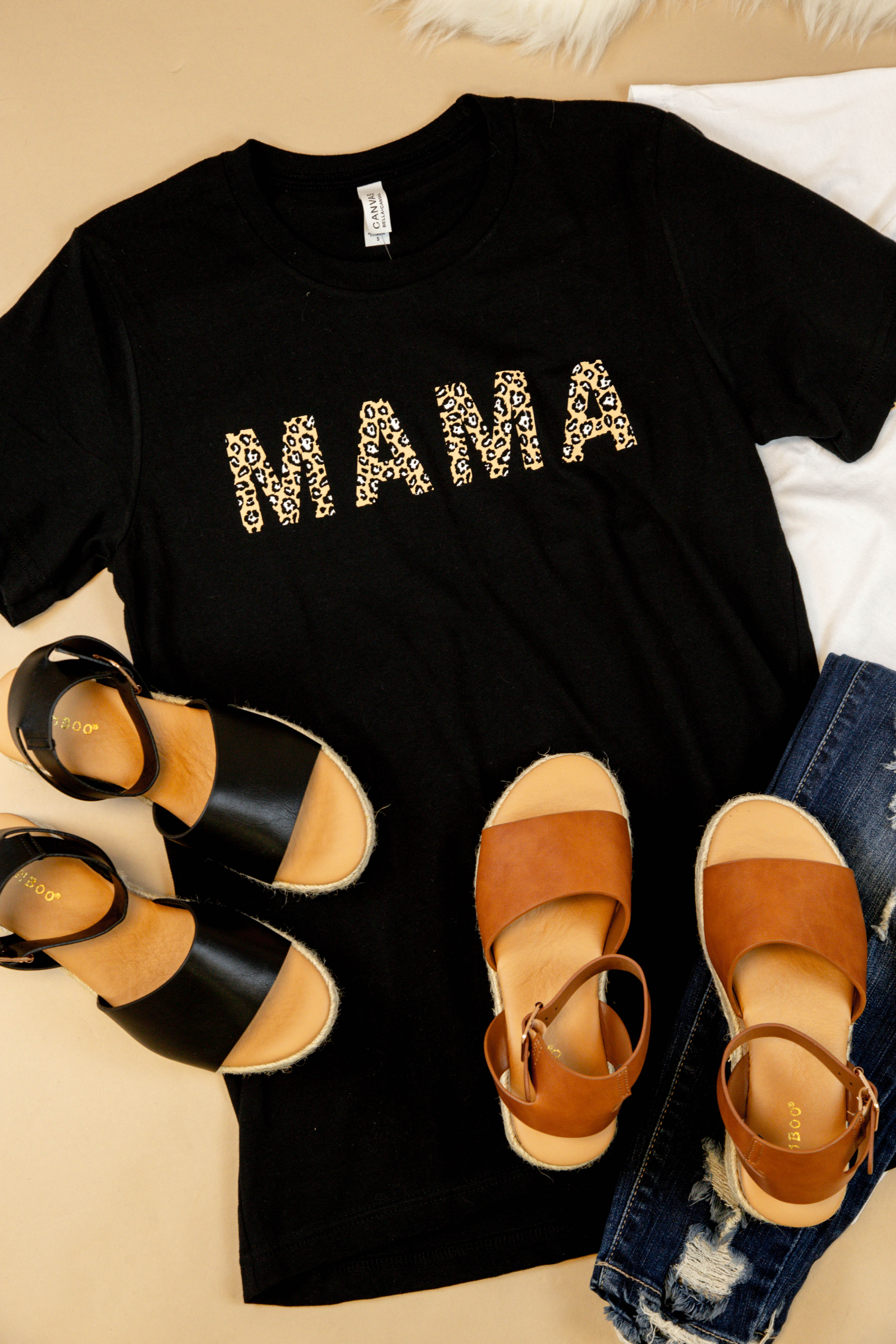 MAMA Leopard Lettering Graphic Tee Black | Extended Sizes