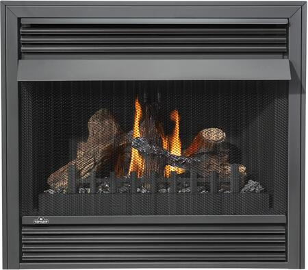 Grandville VF Series GVF36-2P 37 Vent Free Propane Gas Fireplace with Millivolt Ignition  Up to 30 000 BTUs  Pan Style Burner  PHAZER Log Set
