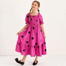 Girls Puff Sleeve Shirred Bodice Ruffle Hem Polka Dot Dress