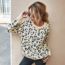 Leopard Backless Crew Neck Sweater