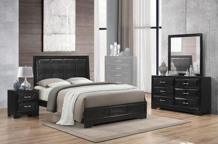 Lila Collection LL365KNMDR 4-Piece Bedroom Set with King Bed  Nightstand  Mirror and Dresser in Black