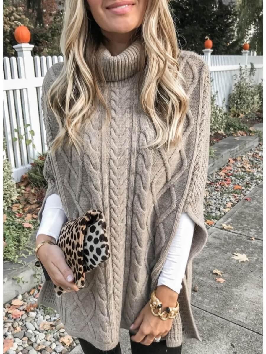 LW Lovely Turtleneck Loose Khaki Sweater