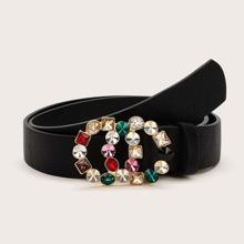 Cinturon con hebilla con doble aro o grabado con diamante de imitacion