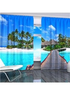 3D Wonderful Palm Trees and Wooden Road in Seaside Printed Natural Scenery Custom Curtain