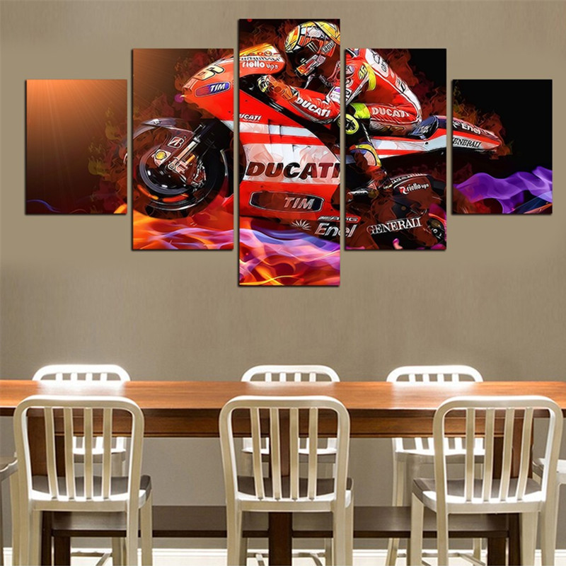 Red Motorcycle and Driver Hanging 5-Piece Canvas Non-framed Wall Prints