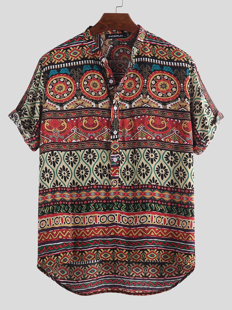 Mens Ethnic Style Printing Loose Fashion Short Sleeve Casual Henley Shirt