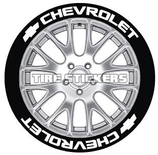 Tire Stickers CHVRLT-1921-75-8-B Permanent Raised Rubber Lettering 'Chevrolet' Logo - 8 of each -19