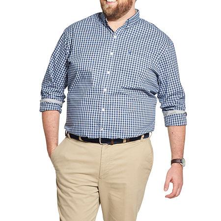 IZOD Big and Tall Premium Essentials Stretch Plaid Button-Down Shirt, 2x-large Tall , Black