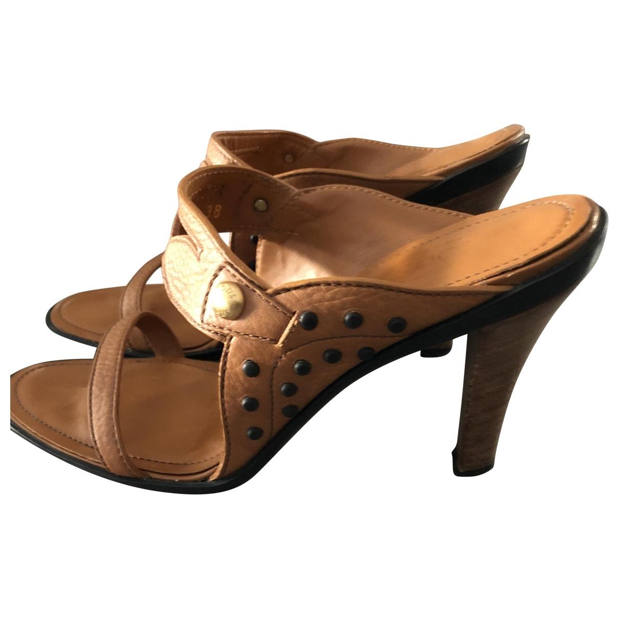 Tod's - Sandales   pour femme en cuir - camel