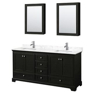 Deborah 72 Inch Double Vanity, Cultured Marble Top, Medicine Cabinets (Dark Espresso, Dark-Vein Carrara Cultured Marble)