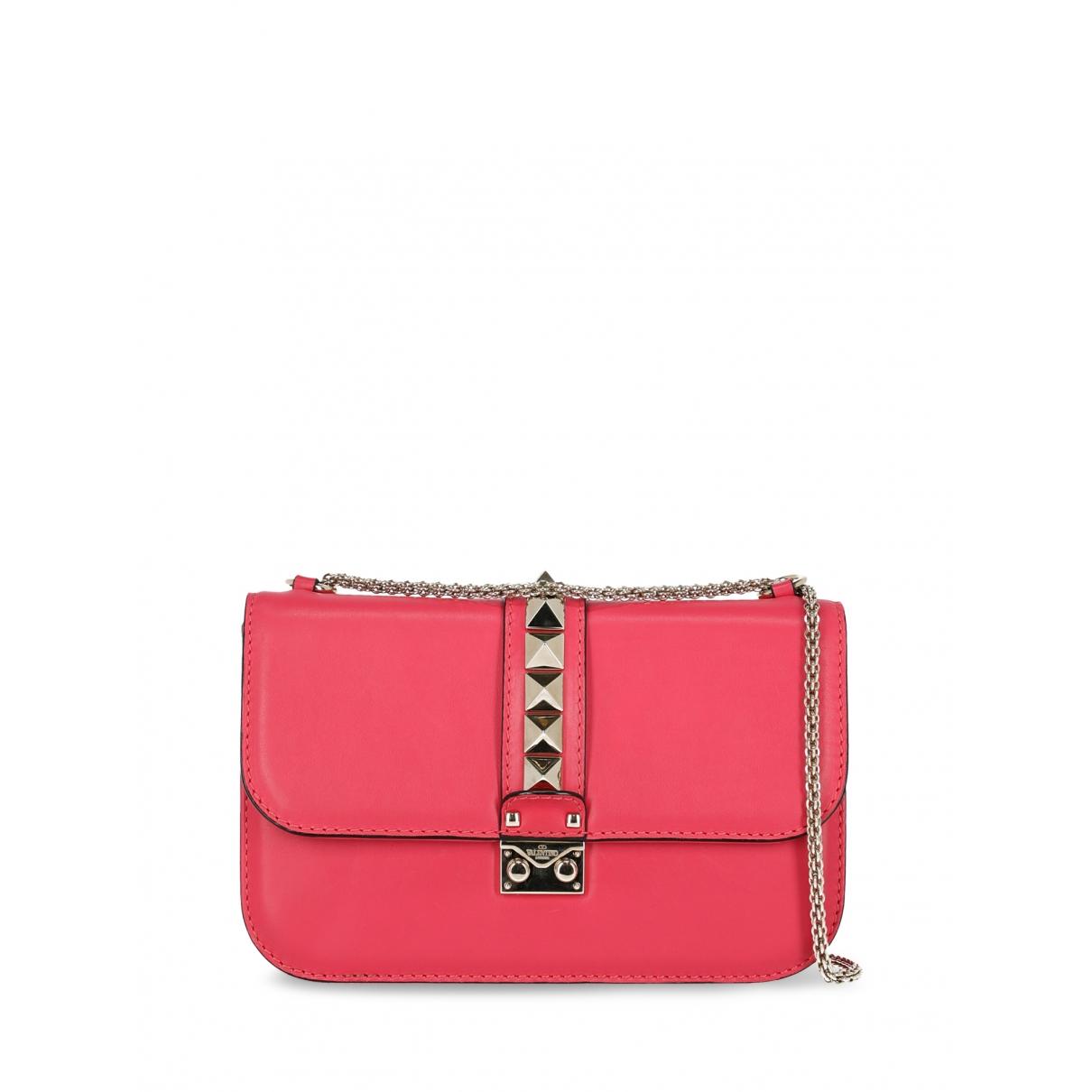 Valentino Garavani - Sac a main Glam Lock pour femme en cuir - rose