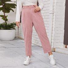Plus Slant Pocket High-Rise Corduroy Pants