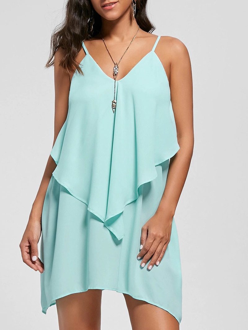 Ericdress V-Neck Ruffles Asymmetric Casual Dress