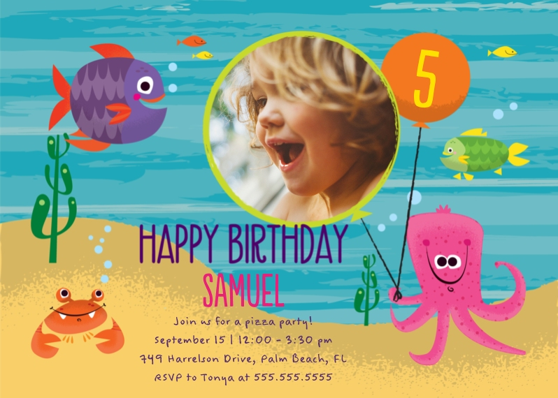 Kids Birthday Party Invites Mail-for-Me Premium 5x7 Folded Card , Card & Stationery -Under the Sea Birthday
