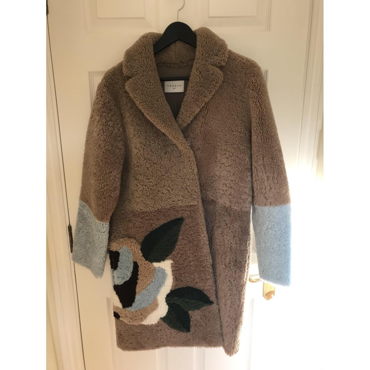 Sandro \N Beige Shearling coat for Women 36 FR