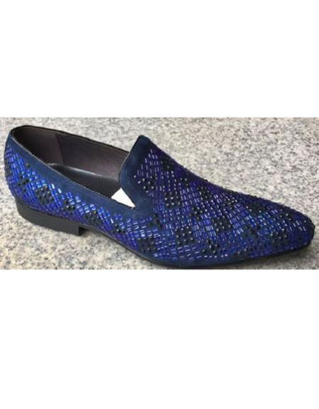 Mens Crystal Geometric Pattern Blue Shoe