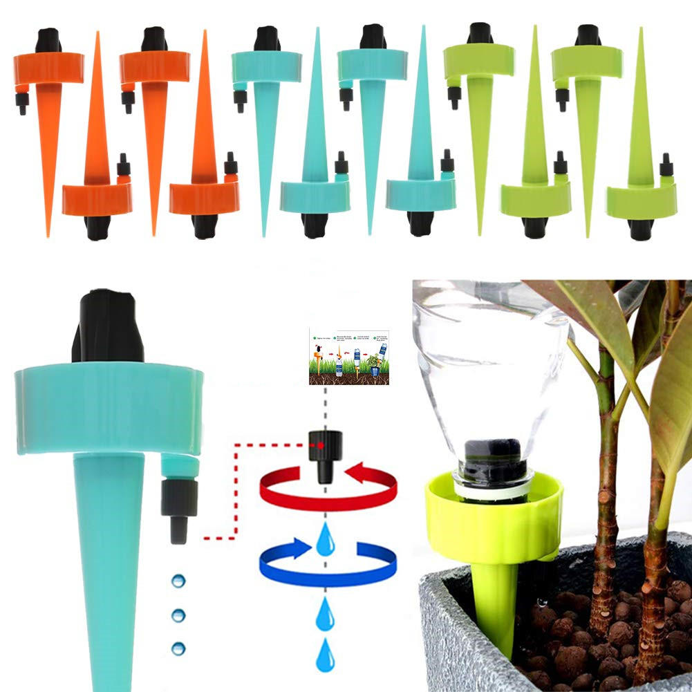 6Pcs/12Pcs Self Automatic Watering Device Water Sprayer Flow Dripper Spikes With Adjustable Control Valve Drip Irrigatio