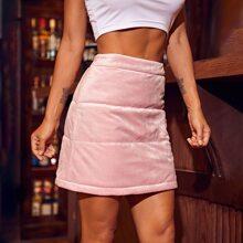 Zip Side Velvet Padded Skirt