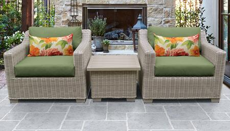 Coast Collection COAST-03a-CILANTRO 3-Piece Patio Wicker Set with 1 End Table and 2 Club Chairs - Beige and Cilantro