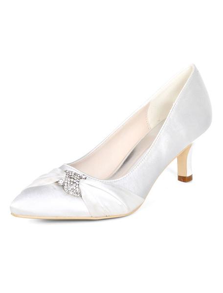 Milanoo Purple Mother Of The Bride Shoes Plus Size Satin Pointed Toe Rhinestones Kitten Heel Wedding Shoes