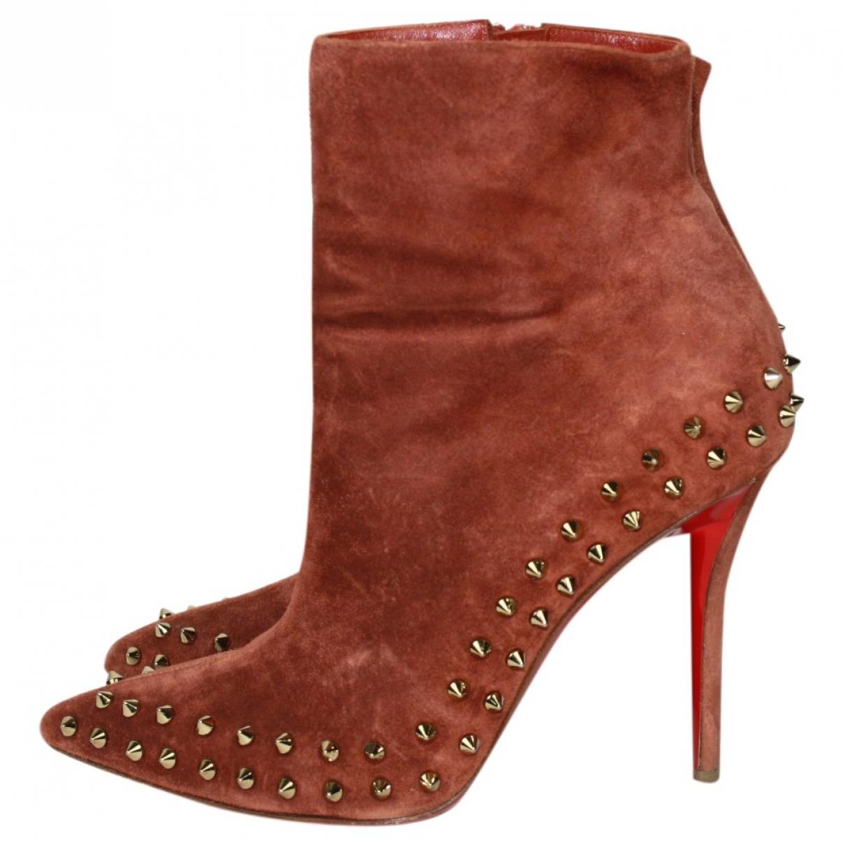 Christian Louboutin - Boots   pour femme en suede - marron
