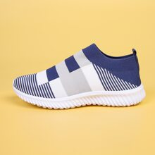 Colorblock Knit Slip On Sneakers