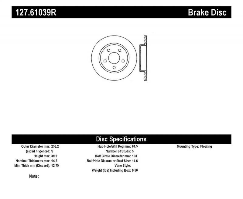 StopTech 127.61039R Sport Drilled/Slotted Brake Rotor; Rear Right Rear Right