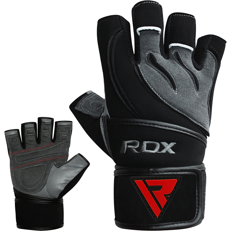 RDX L4 Deepoq Gym Gloves Short Finger in Leather Extra Large Grey/Black/Red