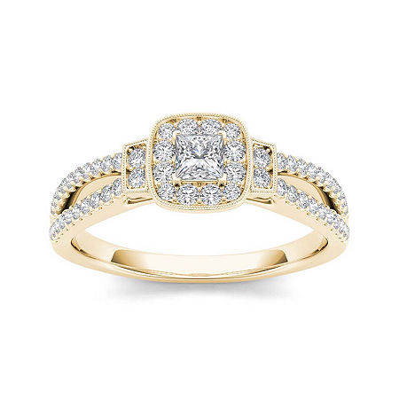 1/2 CT. T.W. Diamond Halo 10K Yellow Gold Engagement Ring, 8 , No Color Family