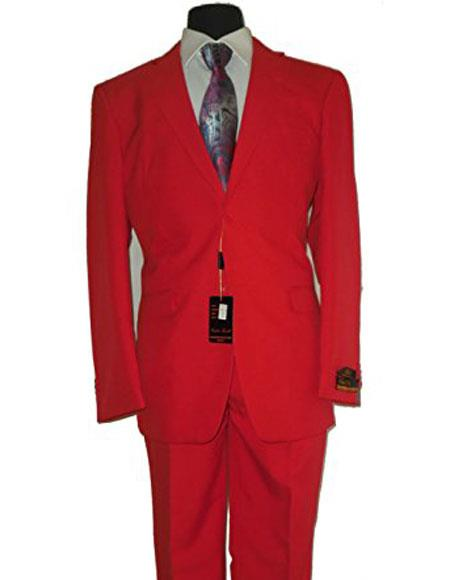 Umberto Bonelli Mens Two Buttons Red Classic suit Flat Front Pants