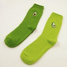 2 pares calcetines con bordado de aguacate