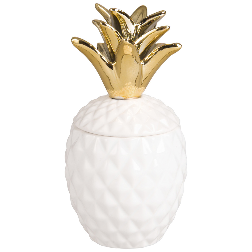 Kerze Ananas im weissen Keramikbehaelter