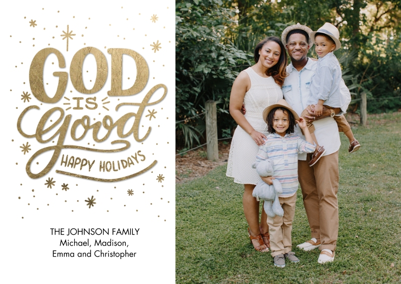 Christmas Photo Cards Flat Glossy Photo Paper Cards with Envelopes, 5x7, Card & Stationery -Christmas Snapshots God is Good by Tumbalina