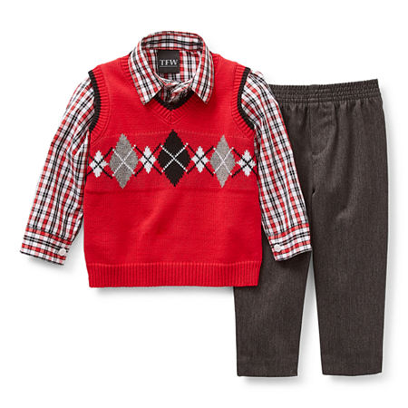 TFW Baby Boys 3-pc. Sweater Vest Set, 24 Months , Red