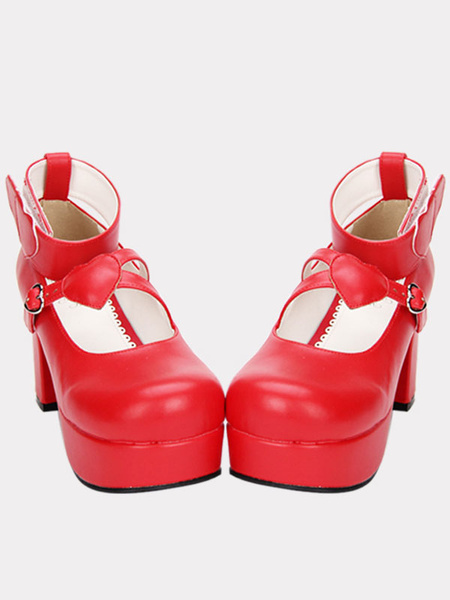 Milanoo Red Lolita Chunky Pony Heels Shoes Platform Ankle Strap Heart Shape Decor Buckle Round Toe