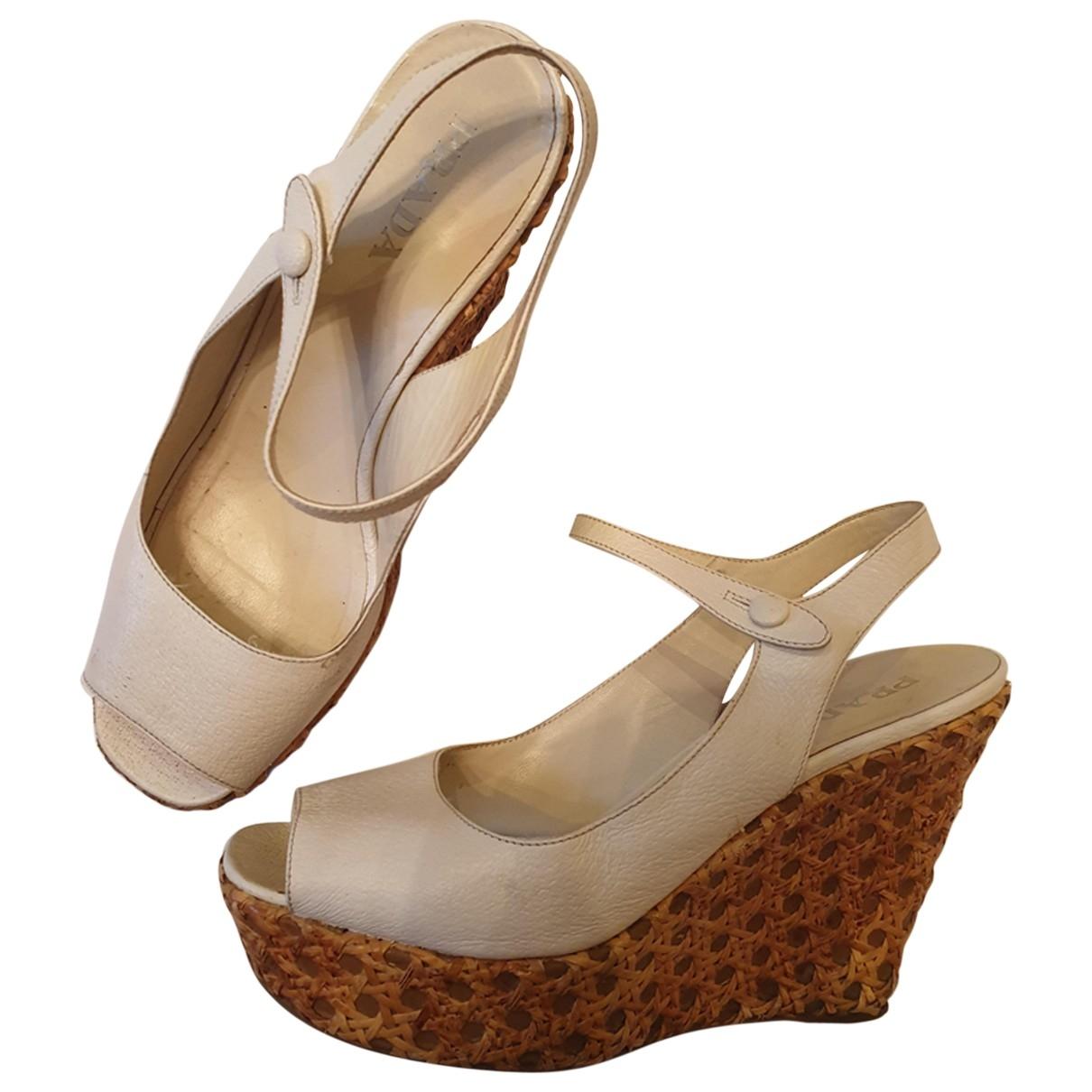 Prada - Sandales   pour femme en cuir - blanc