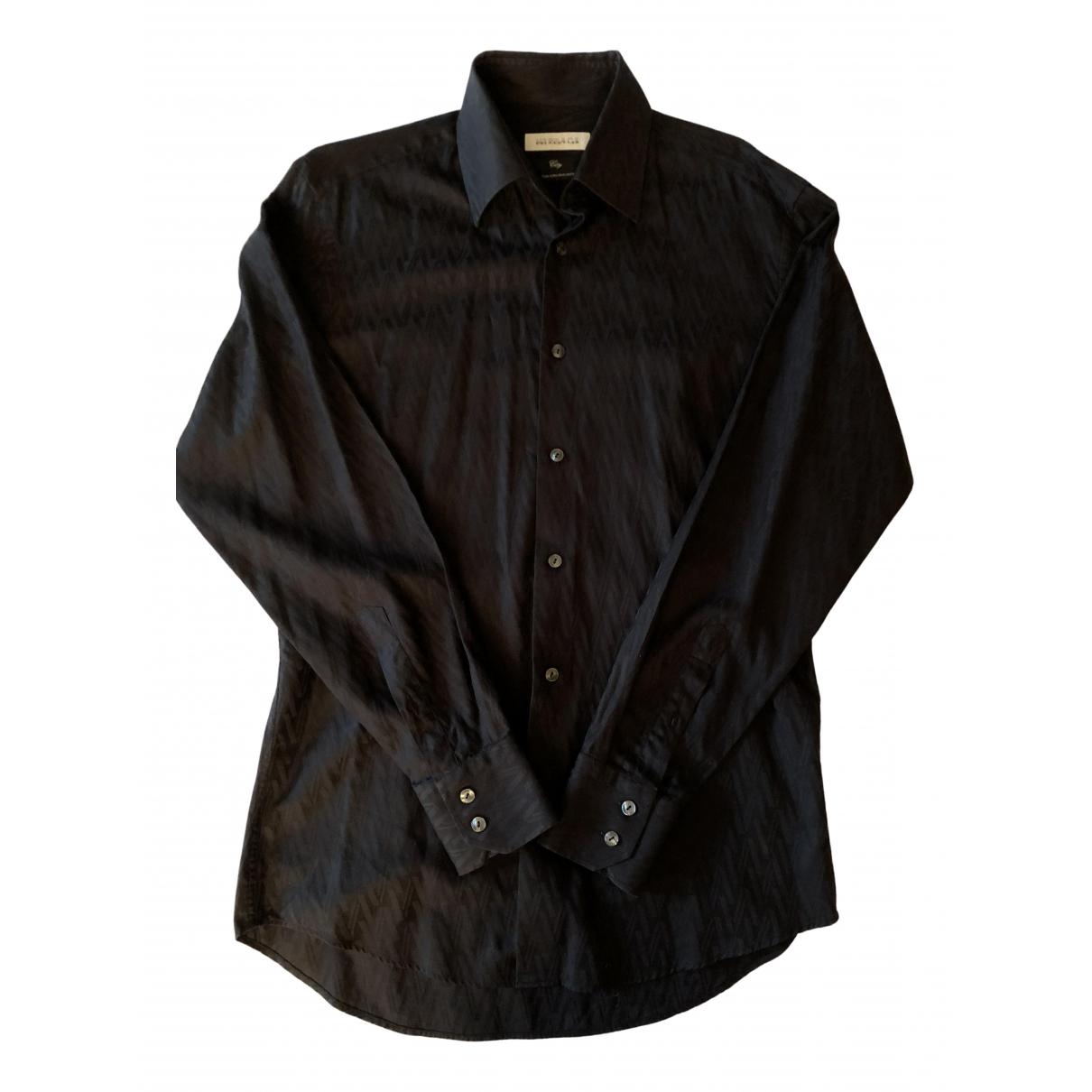 Versace N Black Cotton Shirts for Men 38 EU (tour de cou / collar)