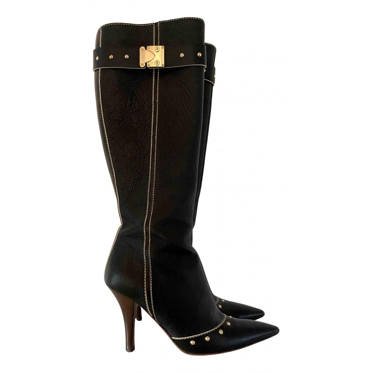Louis Vuitton N Black Leather Boots for Women 36.5 EU