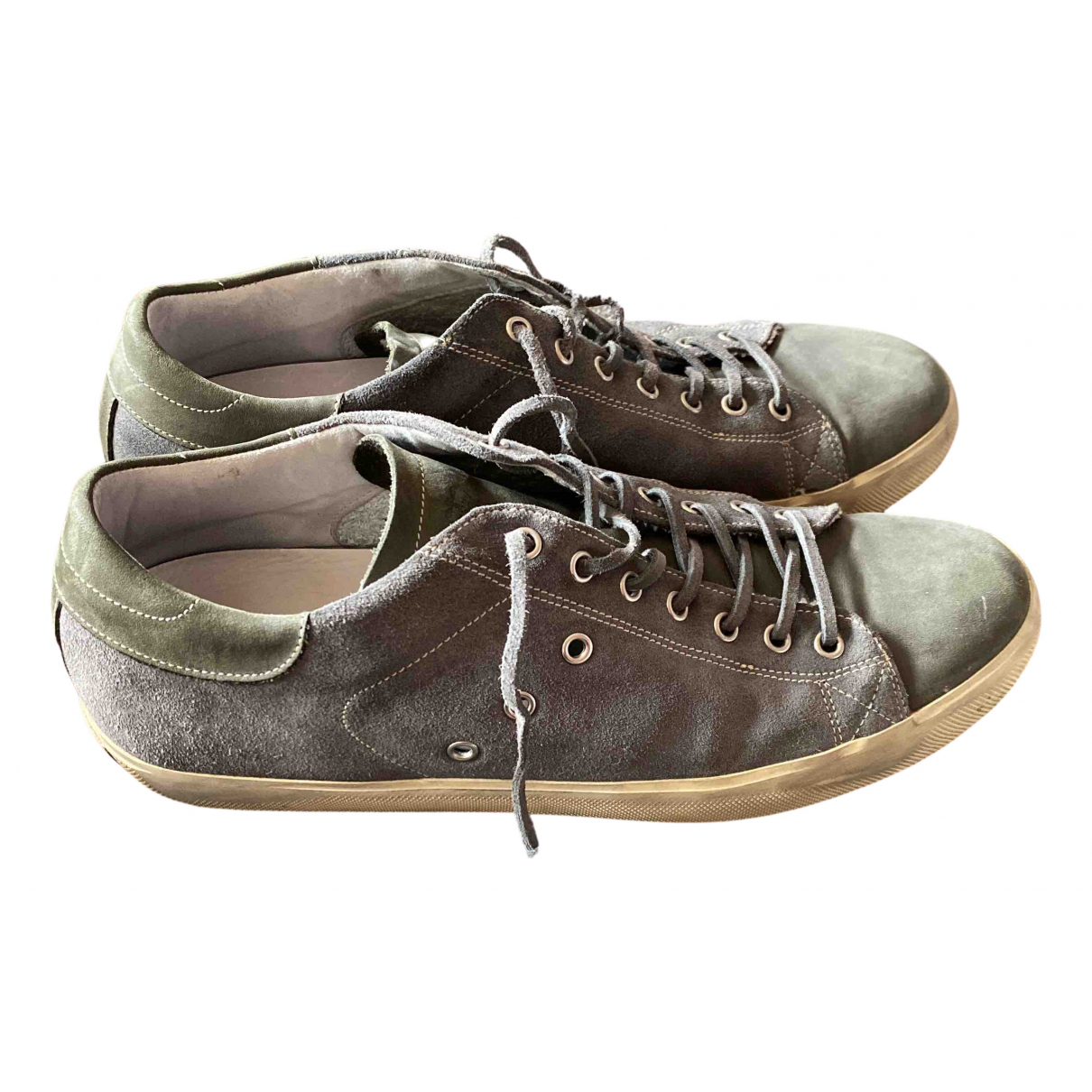 Leather Crown N Grey Leather Trainers for Men 44 IT